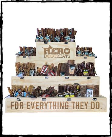 hero dog treats display